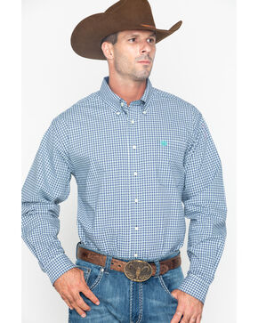 Cinch Men's Small Plaid Button Long Sleeve Western Shirt , Wine, hi-res