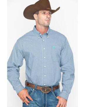 Cinch Men's Small Plaid Button Long Sleeve Shirt , Wine, hi-res