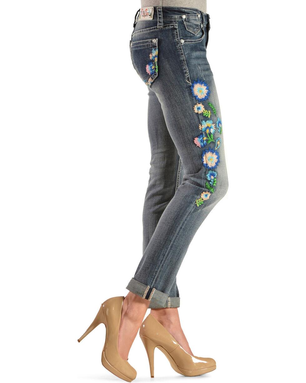 Grace In LA Women's Floral Embroidered Skinny Jeans, Denim, hi-res