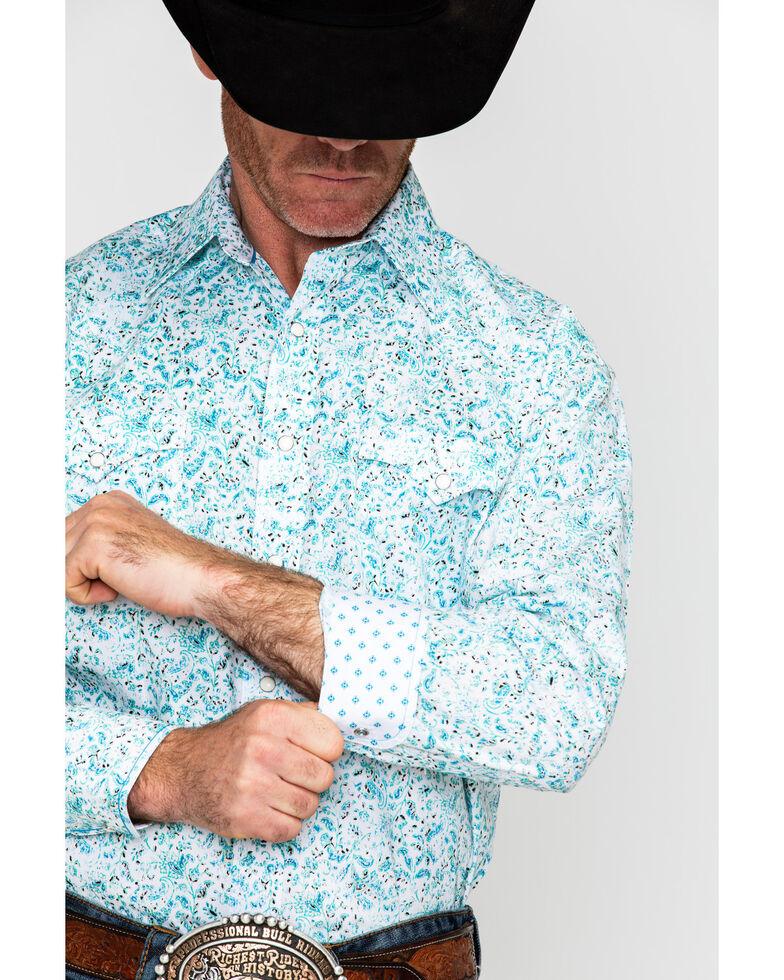 Panhandle Men's Rough Stock Antero Vintage Floral Print Long Sleeve Western Shirt , White, hi-res