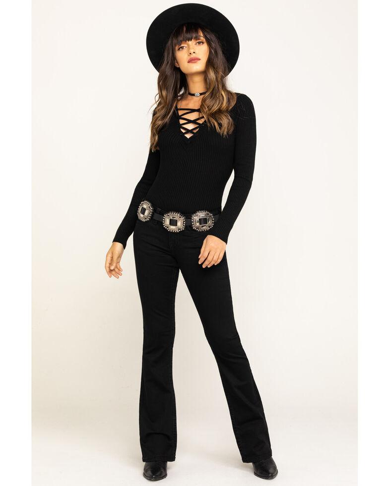 Shyanne Women's Black Faux Flap Bling Bootcut Jeans, Black, hi-res