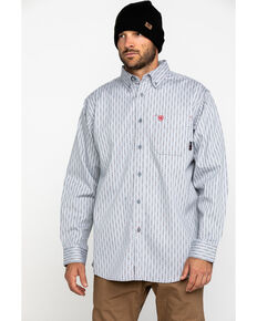 Ariat Men's FR Quartz Geo Print Long Sleeve Work Shirt - Big , Blue, hi-res