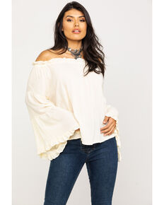 Panhandle Women's Cream Off The Shoulder Tiered Bell Sleeve Top, Cream, hi-res