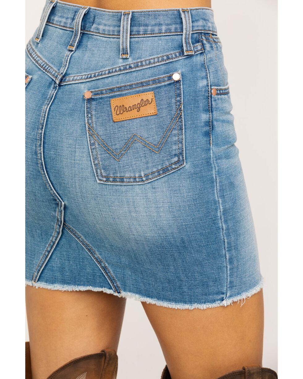 Wrangler Women's Heritage High Rise Mini Skirt, Light Blue, hi-res