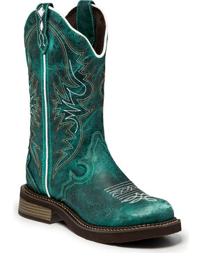 Justin Gypsy Women's Lily Teal Cowgirl Boots - Round Toe , Green, hi-res