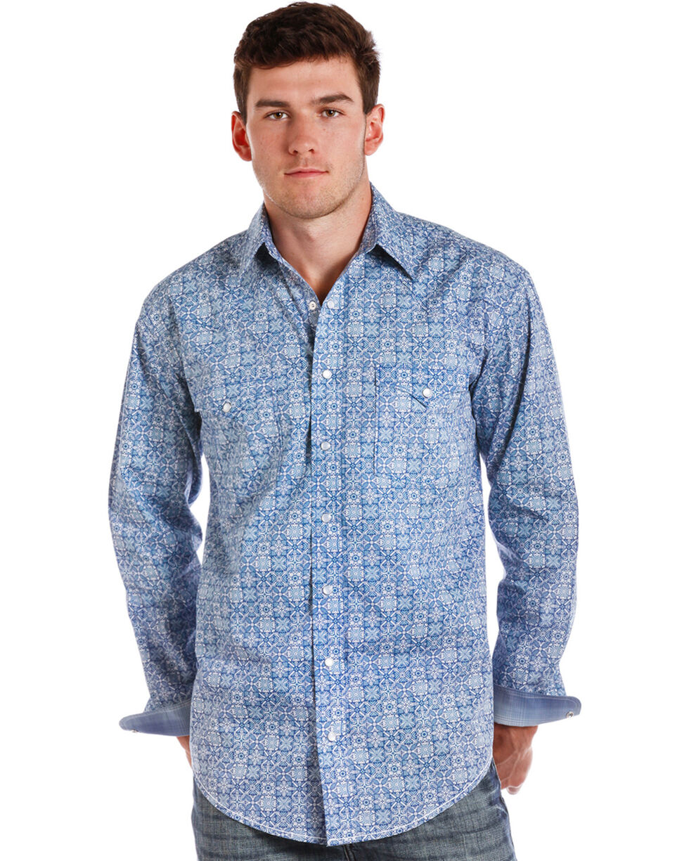 Rough Stock by Panhandle Men's Loretto Vintage Print Western Shirt, Blue, hi-res