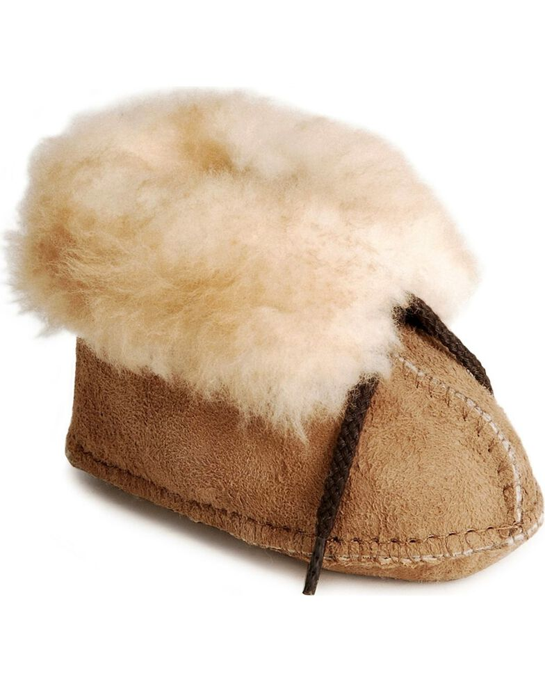 Minnetonka Infant Sheepskin Booties, Tan, hi-res