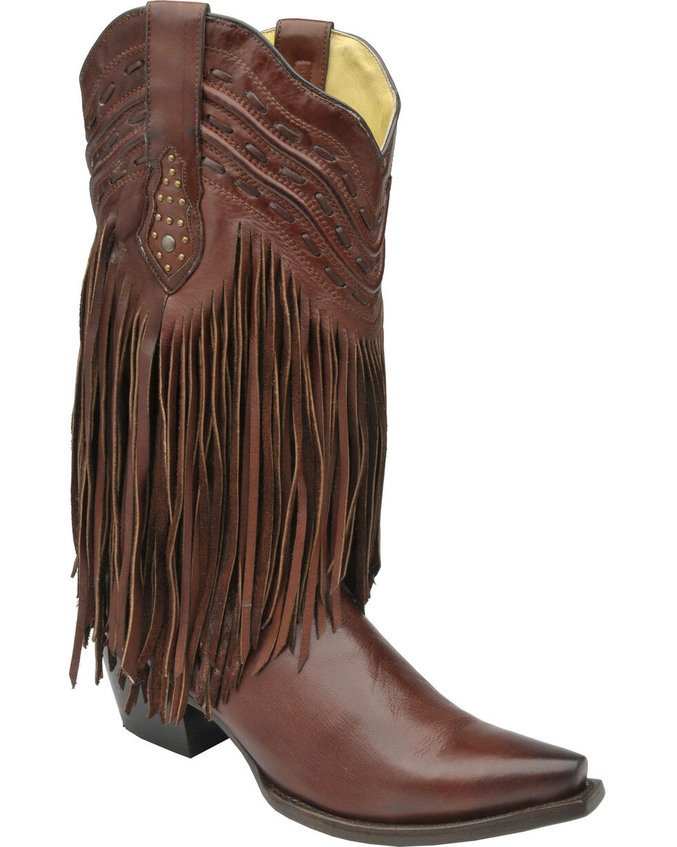 Corral Women's Fringe and Whip Stitch Western Boots, Chocolate, hi-res