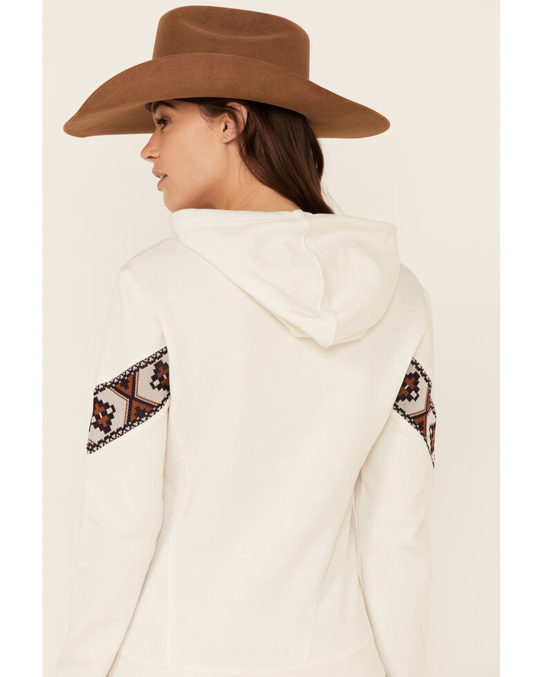 Shyanne Life Women's Sand Embroidered Lace Sleeve Hoodie , Sand, hi-res