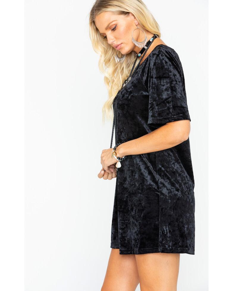 BB Dakota Women's Velvet T-Shirt Dress , Black, hi-res
