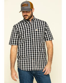 Carhartt Men's Black Essential Plaid Button Down Short Sleeve Work Shirt - Big , Black, hi-res