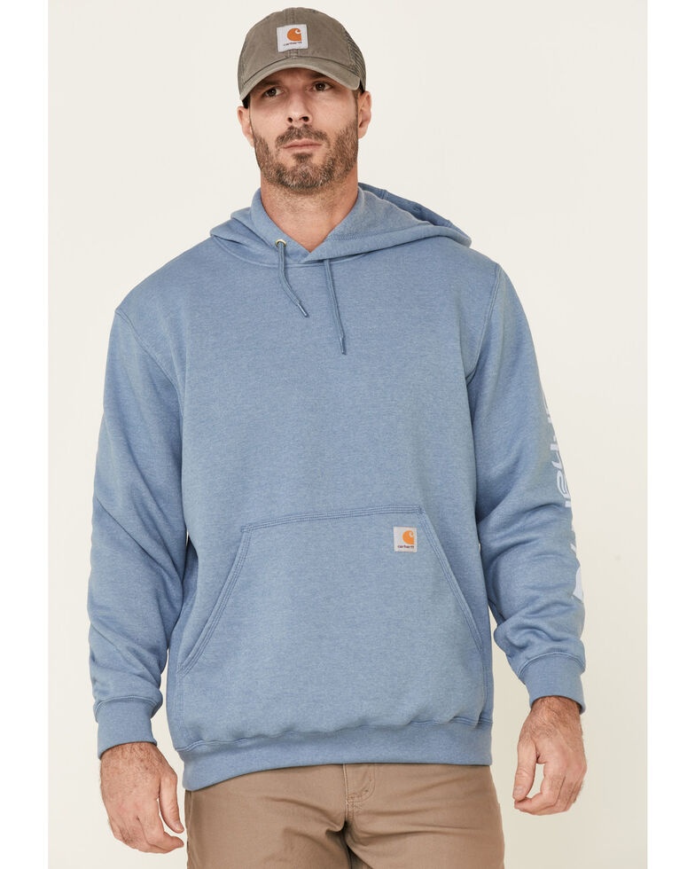 Carhartt Men's Light Blue Signature Sleeve Logo Hooded Work Sweatshirt , Light Blue, hi-res