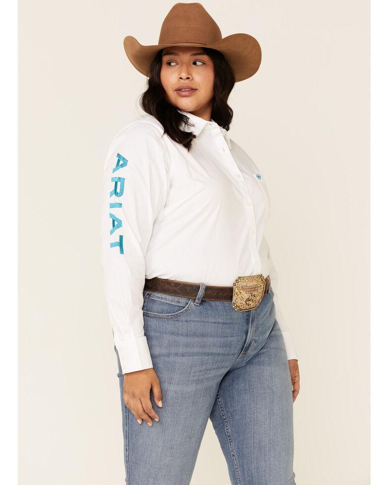 Ariat Women's White Team Kirby Stretch Long Sleeve Shirt - Plus, White, hi-res
