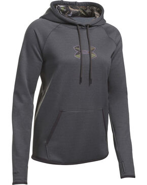 Under Armour Women's Charcoal Grey Caliber Hoodie, Charcoal Grey, hi-res
