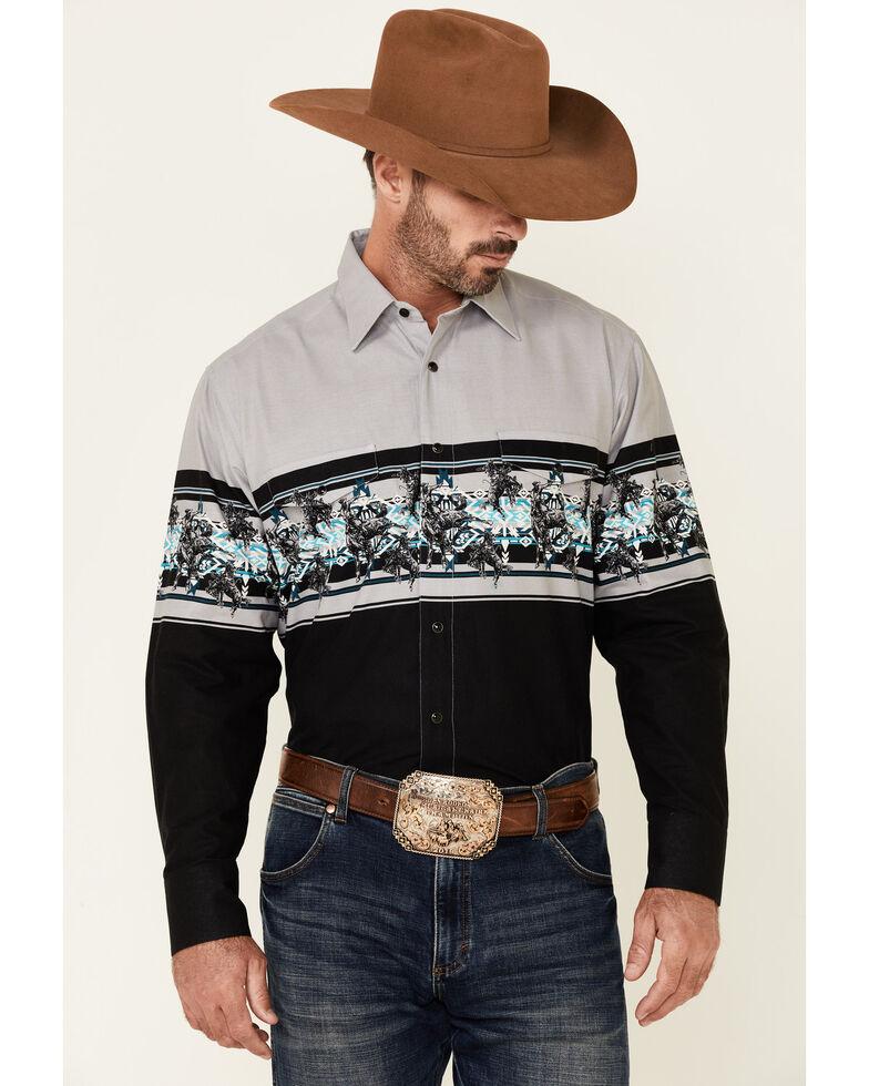 Panhandle Men's Black Aztec Cowboy Border Print Long Sleeve Snap Western Shirt , Black, hi-res
