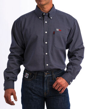 Cinch WRX Men's FR Navy Print Lightweight Button Down Work Shirt - Big , Navy, hi-res
