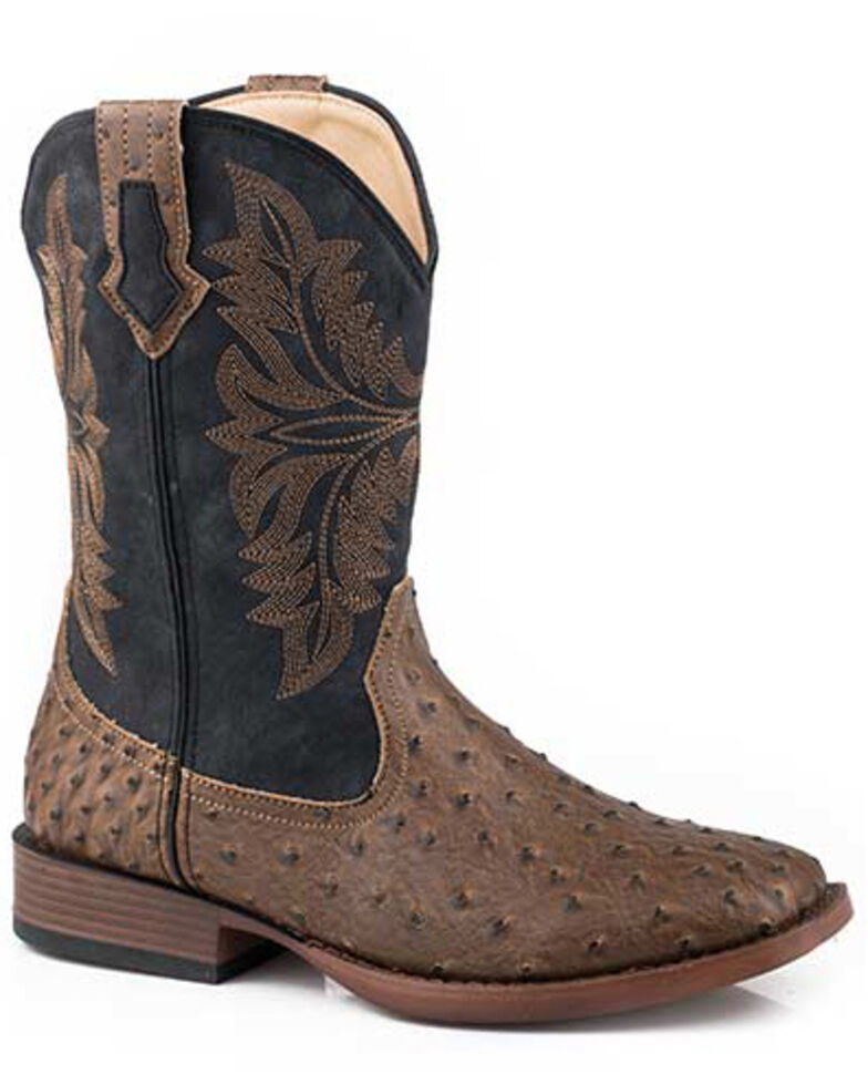 Roper Men's Faux Ostrich Print Western Boots - Square Toe, Brown, hi-res