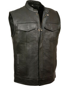 Milwaukee Leather Men's Open Neck Club Style Vest - 3X, Black, hi-res