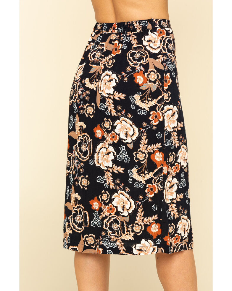 Shyanne Women's Black Boho Floral Print Button Down Midi Skirt, Black, hi-res