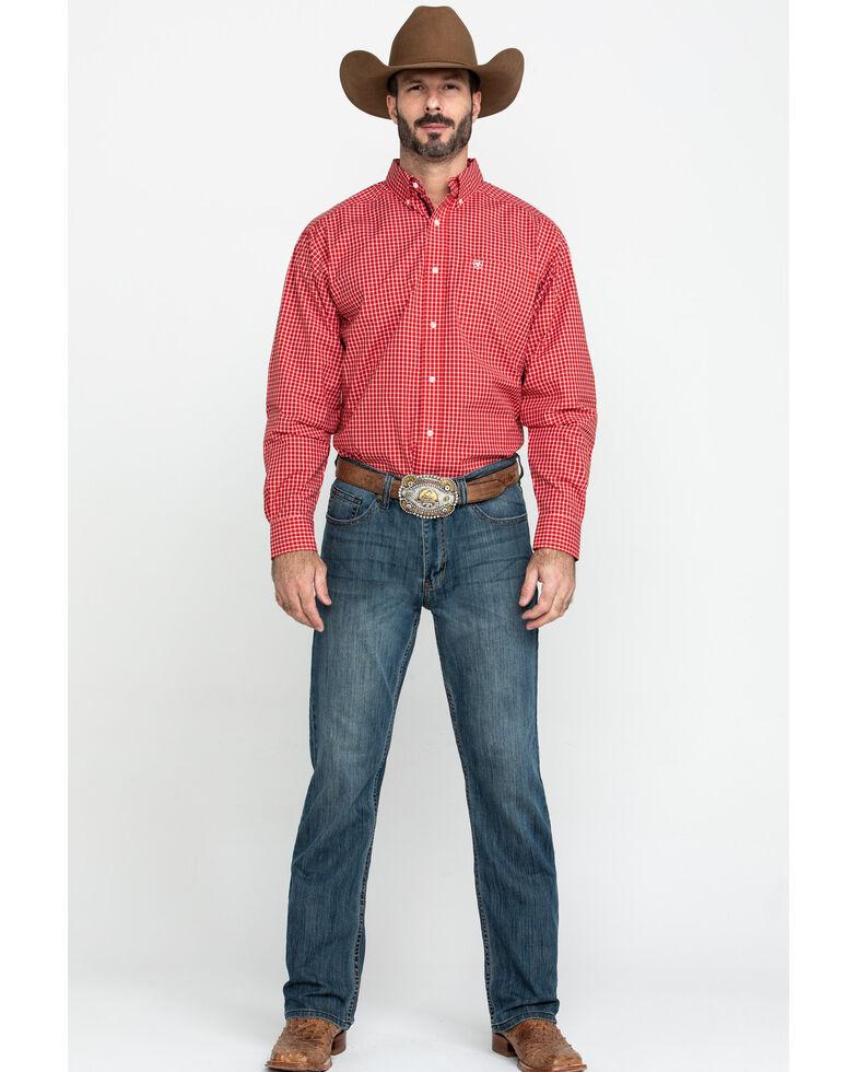 Ariat Men's Newport Small Plaid Long Sleeve Western Shirt , Red, hi-res