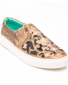 Corral Women's Floral Embroidered Glitter Inlay Sneakers, Black, hi-res