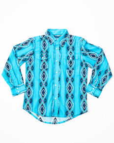 Wrangler Boys' Checotah Long Sleeve Western Shirt, Blue, hi-res