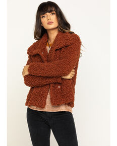 Eyeshadow Women's Rust Fuzzy Jacket, Rust Copper, hi-res