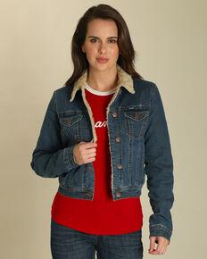 Wrangler Women's Sherpa Collar Denim Jacket , Indigo, hi-res