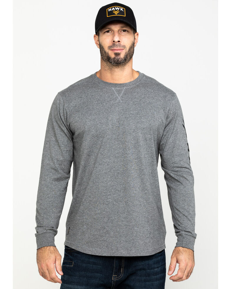 Hawx Men's Grey Logo Sleeve Long Sleeve Work T-Shirt - Tall , Heather Grey, hi-res