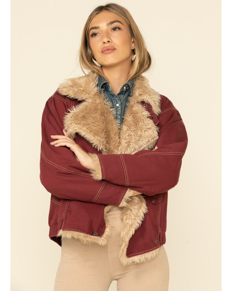 STS Ranchwear Women's Hally Rose Faux Fur Denim Jacket , Maroon, hi-res