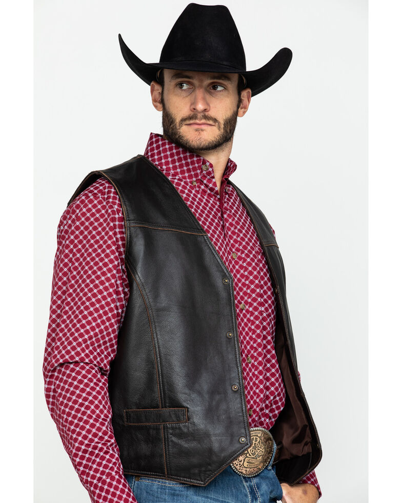 Cripple Creek Men's Hand Sanded Snap Front Lamb Nappa Vest , Chocolate, hi-res