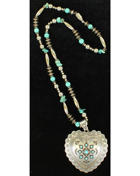 Blazin Roxx Heart Concho Beaded Necklace , Silver, hi-res