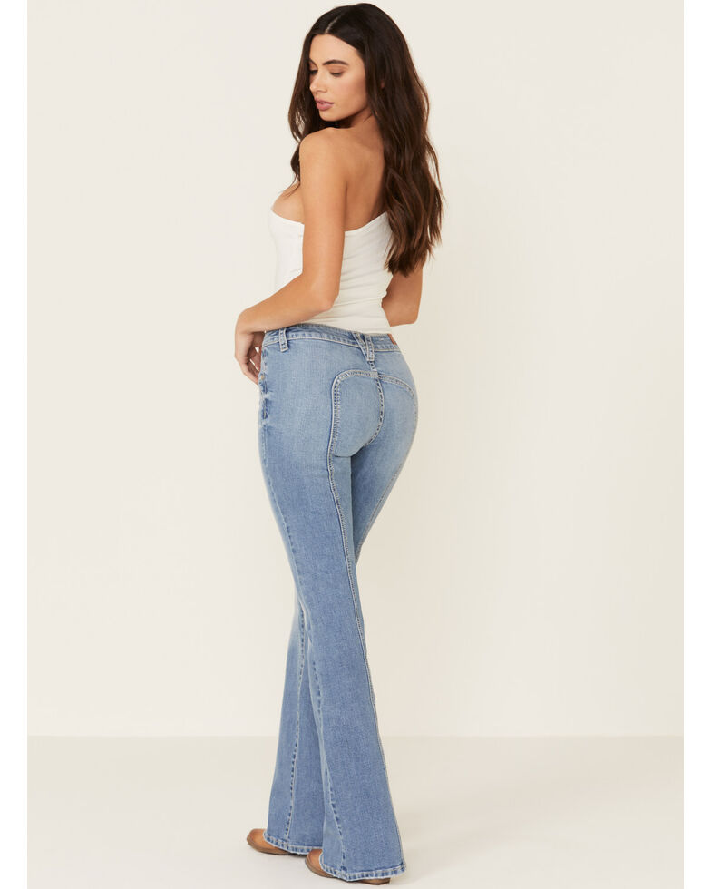 Shyanne Women's Curved Back Seam Bootcut Jeans, Light Blue, hi-res