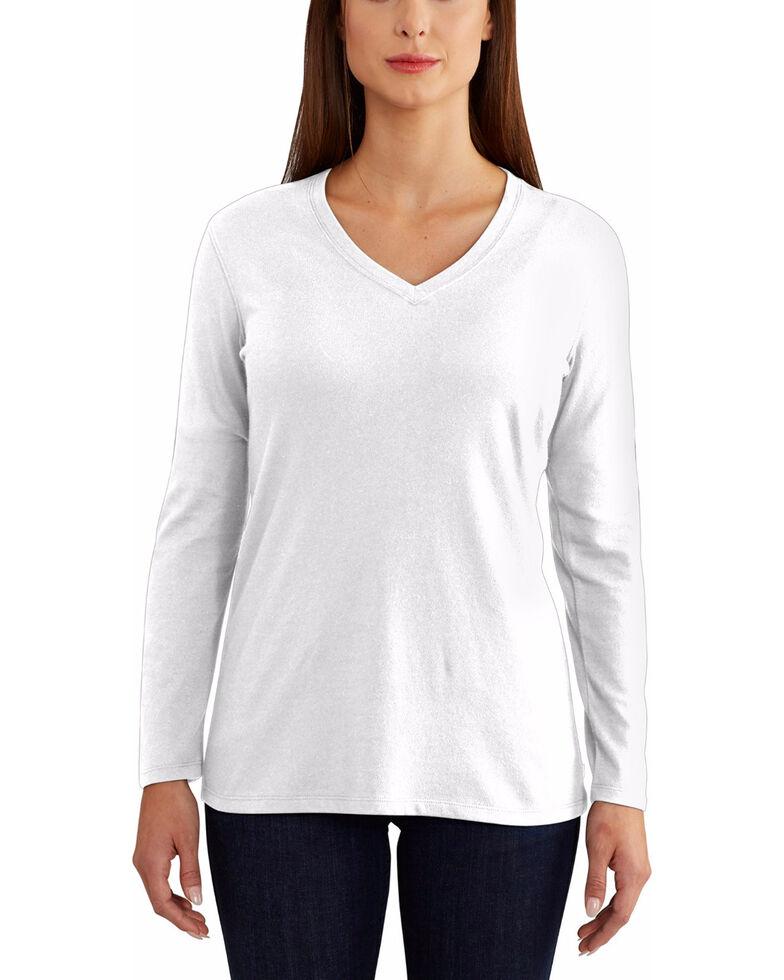 Carhartt Women's Brown Lockhart Long Sleeve V-Neck Shirt , White, hi-res