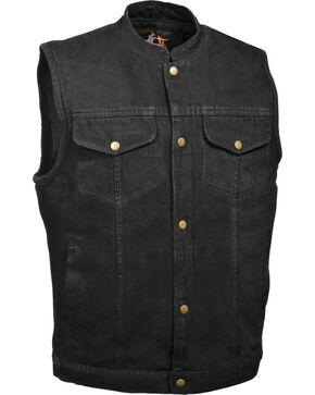 Milwaukee Leather Men's Snap Front Denim Club Style Vest w/ Gun Pocket - Big - 3X, Black, hi-res