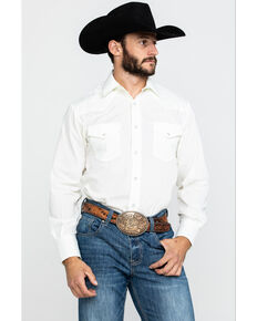 Roper Men's Warm Cream Solid Long Sleeve Western Shirt , White, hi-res