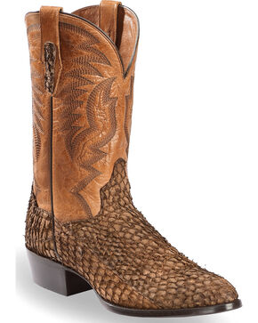 Dan Post Men's Chocolate Sea Bass Cowboy Boots - Round Toe, Chocolate, hi-res