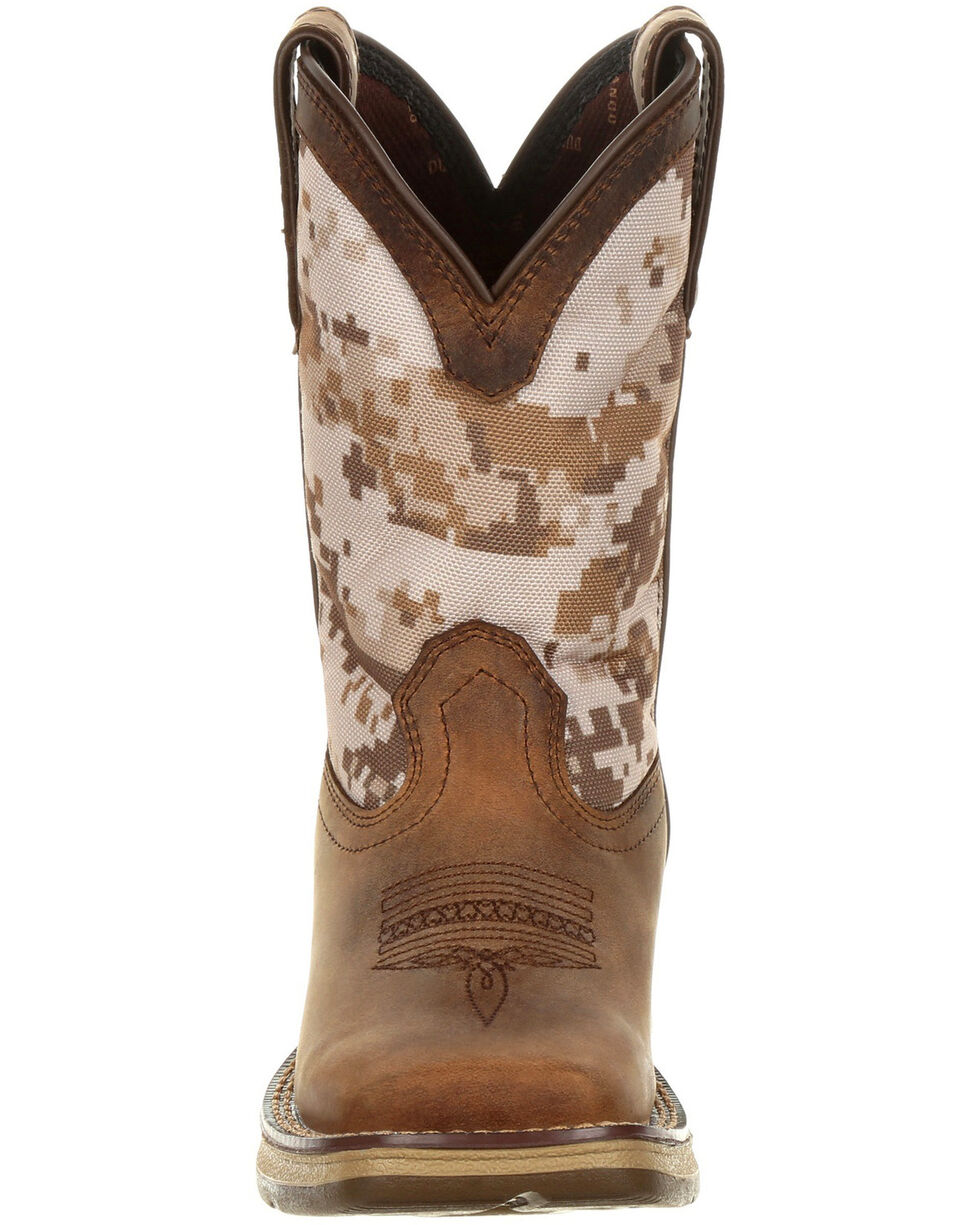 Durango Boys' Lil Rebel Desert Camo Western Boots - Square Toe, Brown, hi-res