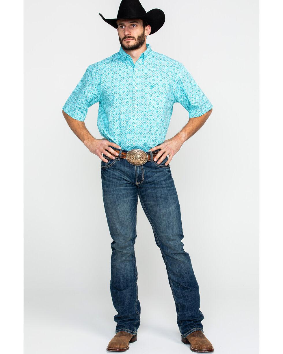 Ariat Men's Hardenbeck Floral Geo Print Short Sleeve Western Shirt , Blue, hi-res