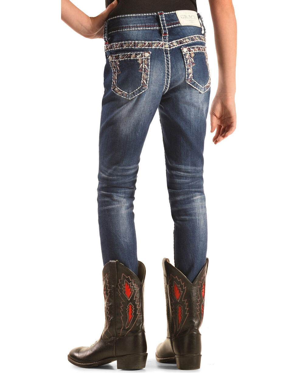 Grace in LA Girls' Embroidered Border Skinny Jeans , Indigo, hi-res