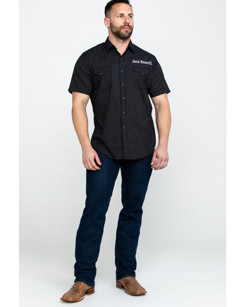 Jack Daniels' Men's Blend Mini Check Plaid Short Sleeve Western Shirt , Black, hi-res
