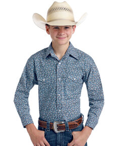 Rough Stock By Panhandle Boys' Praha Vintage Print Long Sleeve Western Shirt , Navy, hi-res