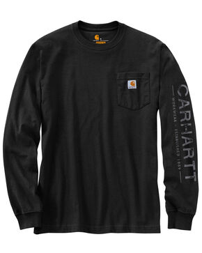 Carhartt Men's Workwear Logo Graphic Long Sleeve T-Shirt - Big , Black, hi-res