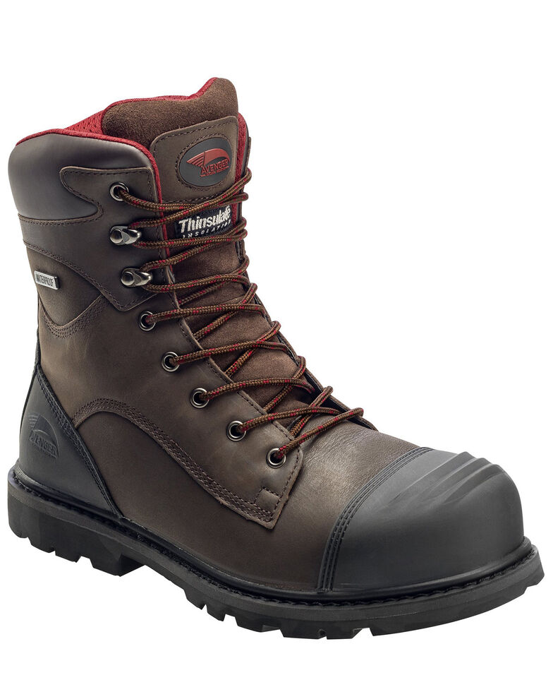 Avenger Men's Hammer Waterproof Work Boots - Carbon Toe, Brown, hi-res