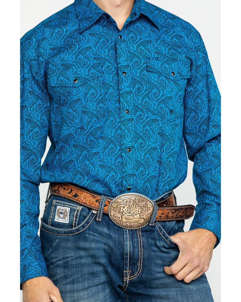 Roper Men's Amarillo Gentlemans Paisley Print Snap Long Sleeve Western Shirt , Blue, hi-res