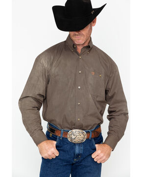 Wrangler Men's George Strait Long Sleeve Shirt , Tan, hi-res
