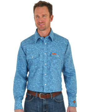 Wrangler Men's Blue Paisley FR Lightweight Work Shirt , Blue, hi-res