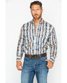 Wrangler Men's Checotah Aztec Stripe Long Sleeve Western Shirt , Beige/khaki, hi-res