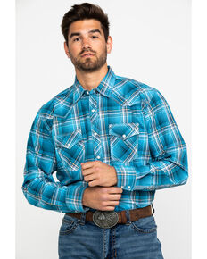 Wrangler 20X Men's Advanced Comfort Plaid Long Sleeve Western Shirt , Blue, hi-res