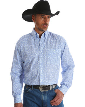 Wrangler Men's George Strait Blue Printed Button Down Western Shirt , Blue, hi-res